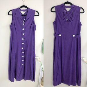Vintage 90s Purple Crossback Button Down Dress